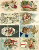Ansichtskarten, Glückwunsch, NeujahrNeujahr Partie mit über 70 Ansichtskarten teils geprägt I-II