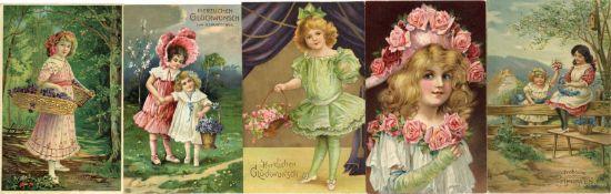 Ansichtskarten,Glueckwunsch,KinderKinder Album mit circa 350 Künstler Lithos und Präge-Karten I-II