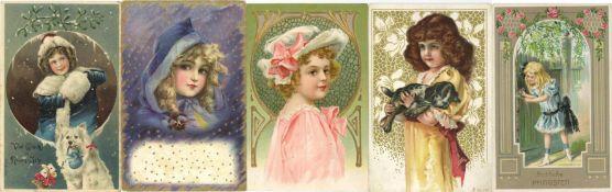 Ansichtskarten,Glueckwunsch,KinderKinder Album mit über 140 Künstler-Karten und Prägelithos circa
