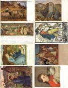 Kunst u. Kultur,Berühmte Maler,sonstigeSchiestl Album mit circa 100 Künstler-Karten I-II
