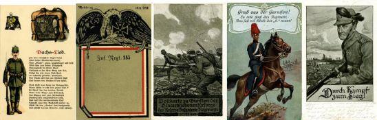 Militär, WK I, RegimenterRegiment circa 30 Rücklose der letzten Auktion (alles Einzellose) ehm.
