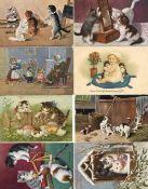 Tiere,Säugetiere,KatzenKatze Album mit circa 150 Karten alte Katzenmotive teils personifiziert vor