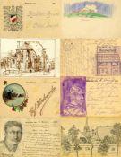 Ansichtskarten,Sonderkarten,handgemaltHandgemalt WK I Partie mit über 60 Ansichtskarten I-II- - -