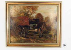 """Ölgemälde, Bauernhof in WestfahlenÖl auf Malkarton. Herbststimmung. Signiert """"G.Roeder"""" 1931. Im"""