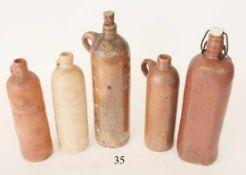 Konvolut 5 alte WasserflaschenTon. Verschiedene. Selters, kgl.preuss. Brunnenverwaltung. Zustand: