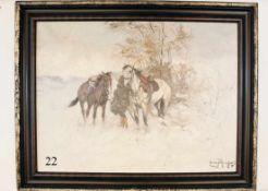 Ölgemälde, ungar. Husar mit Pferden in WinterlandschaftÖl auf Leinwand. Signiert. Im orig. Rahmen.