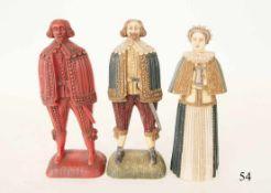 3 Wachsfiguren, um 1880In historischer Kleidung. Je 24cm.Zustand: II