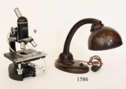 MikroskopSteindorff&Co. Berlin. Mit Beleuchtung. 1950/60er Jahre.Zustand: II