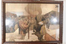 Kolorierter Druck um 1900: LandknechteNach dem Gemälde des Stuttgarter Schlachtenmalers Robert von