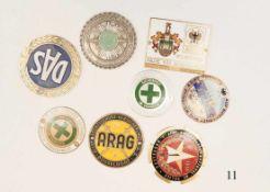 8 Autoplaketten1950/60er Jahre. Verschiedene. Zustand: II
