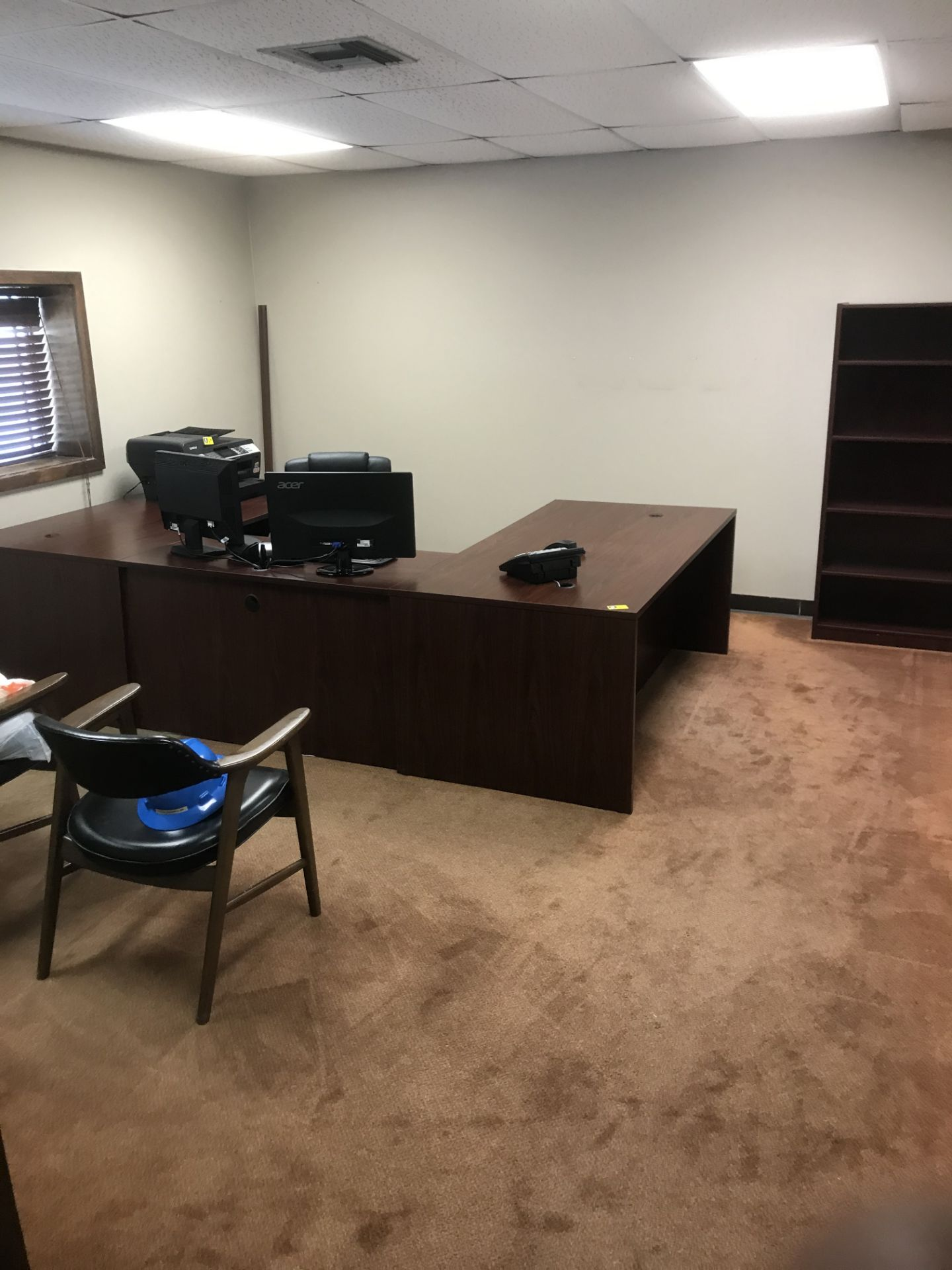 Lot 673 - U-Shaped Executive Desk w/ Bookcase, Executive Chair & 2 Guest Chairs
