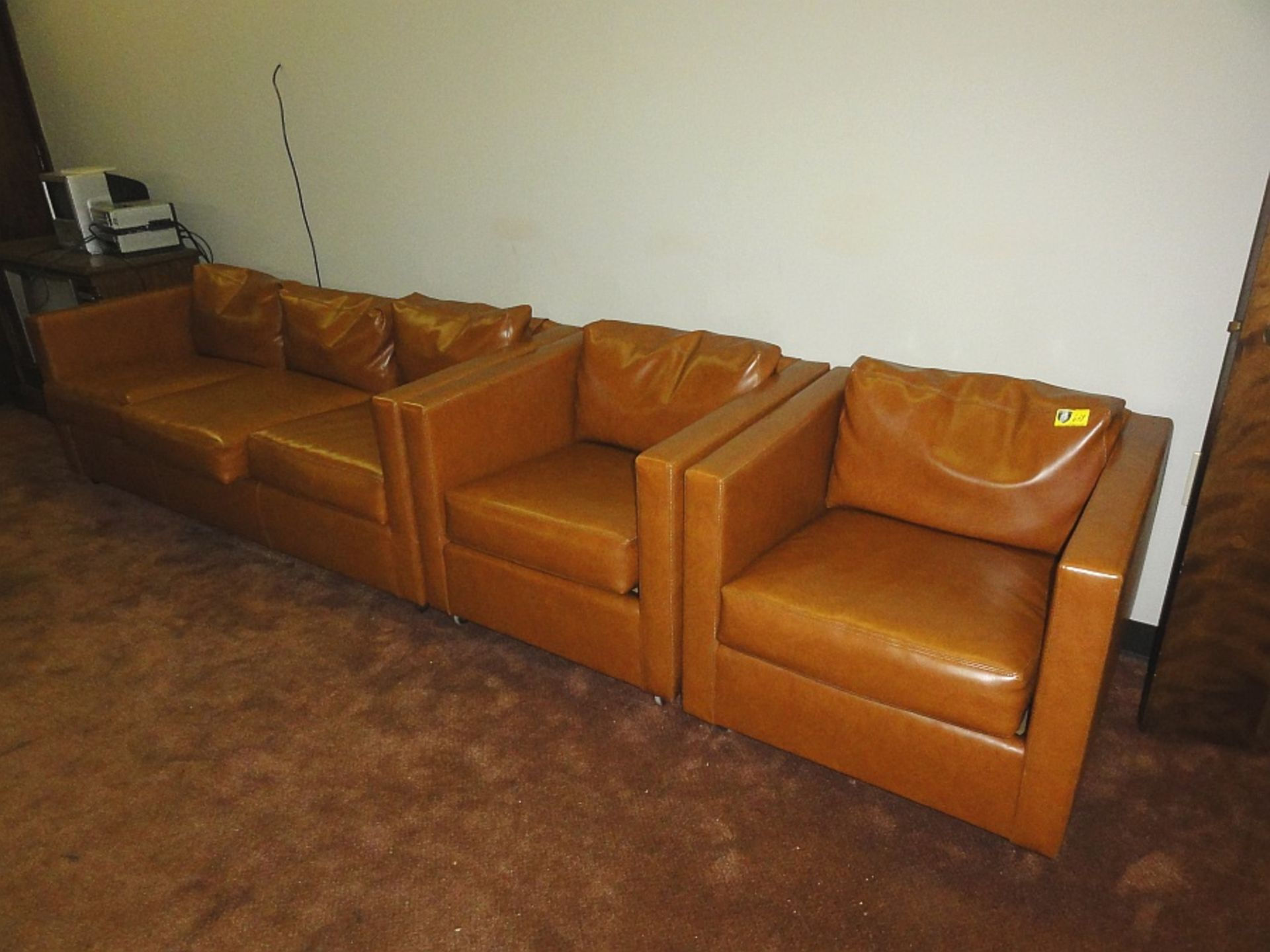 Lot 638 - Upholstered Sofa & 2 Club Chairs