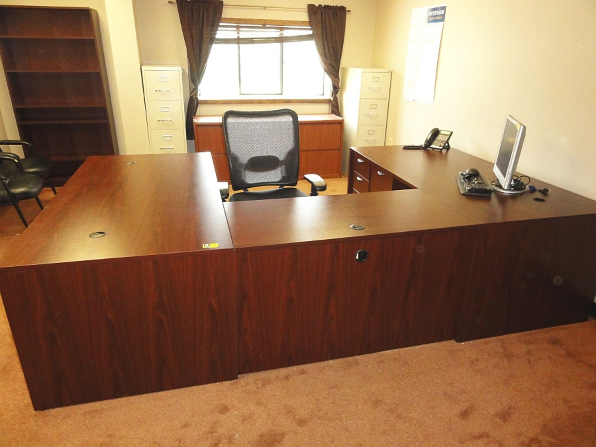 U-Shaped Executive Desk w/ Bookcase, Cradenza, Executive Chair & 2 Guest Chairs