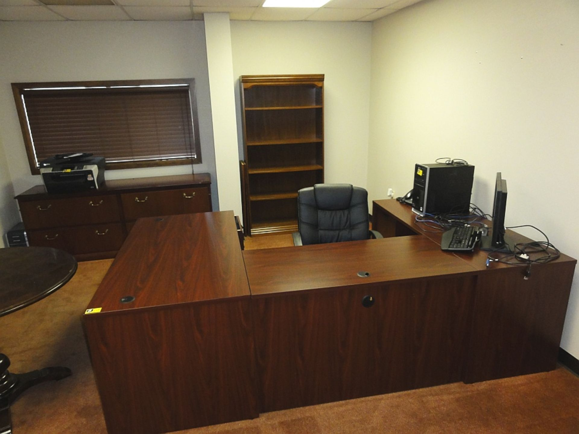 Lot 649 - Executive Workstation w/ Cradenza, Bookcase & Rolling Desk Chair