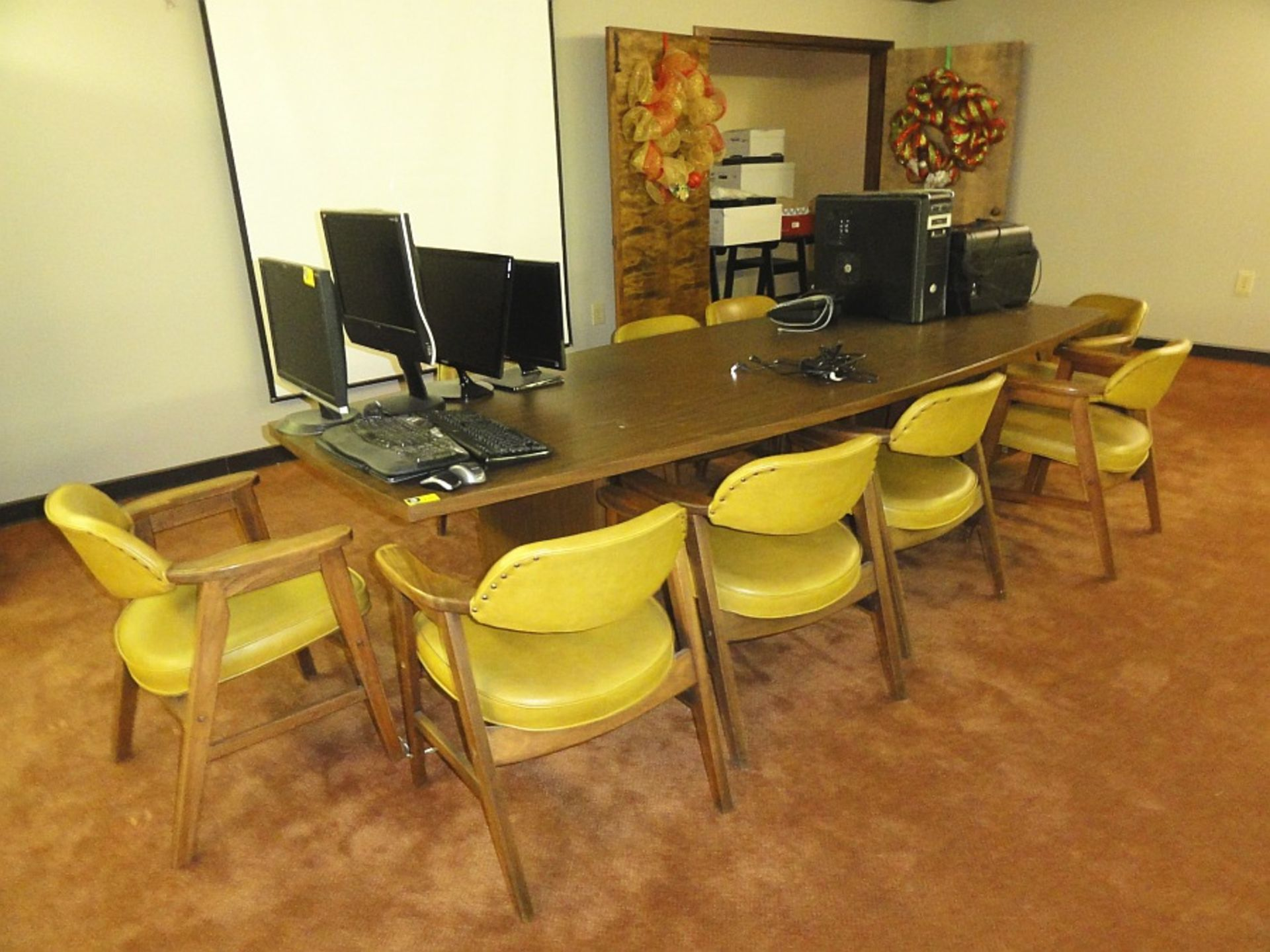 Lot 642 - Laminate Conference Table & 10 Upholstered Chairs