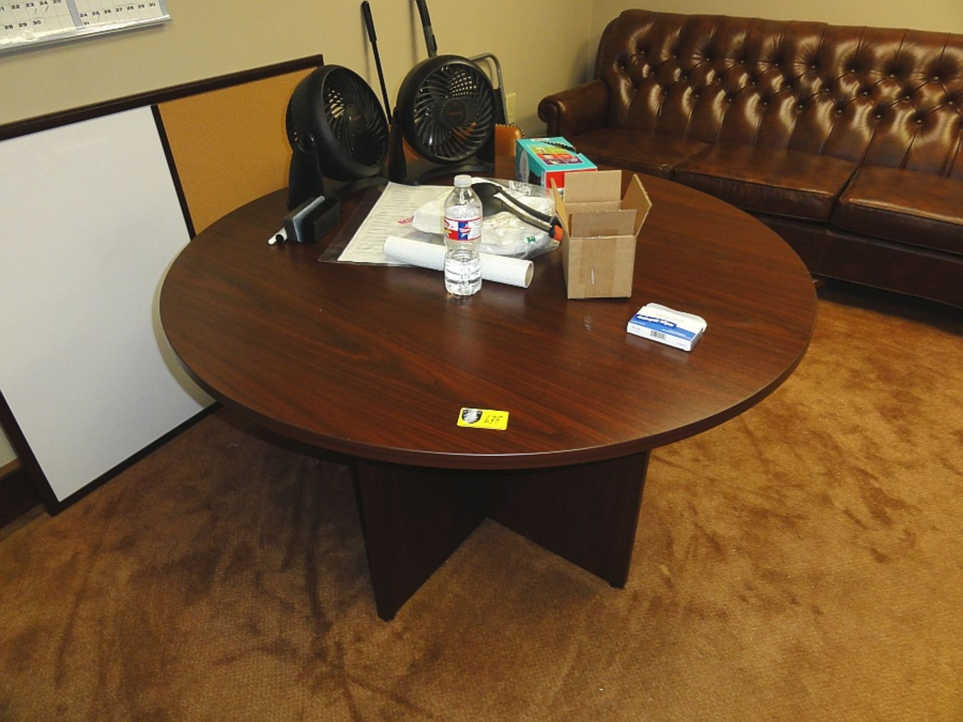 Lot 635 - Round Wooden Conference Table