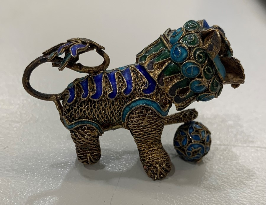 Lot 42 - Silver and enamel Chinese foo dog