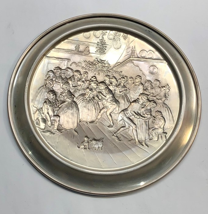 Lot 36 - Signed embossed silver plate with scene of dancing dickens figures signed v.danks full silver hallma