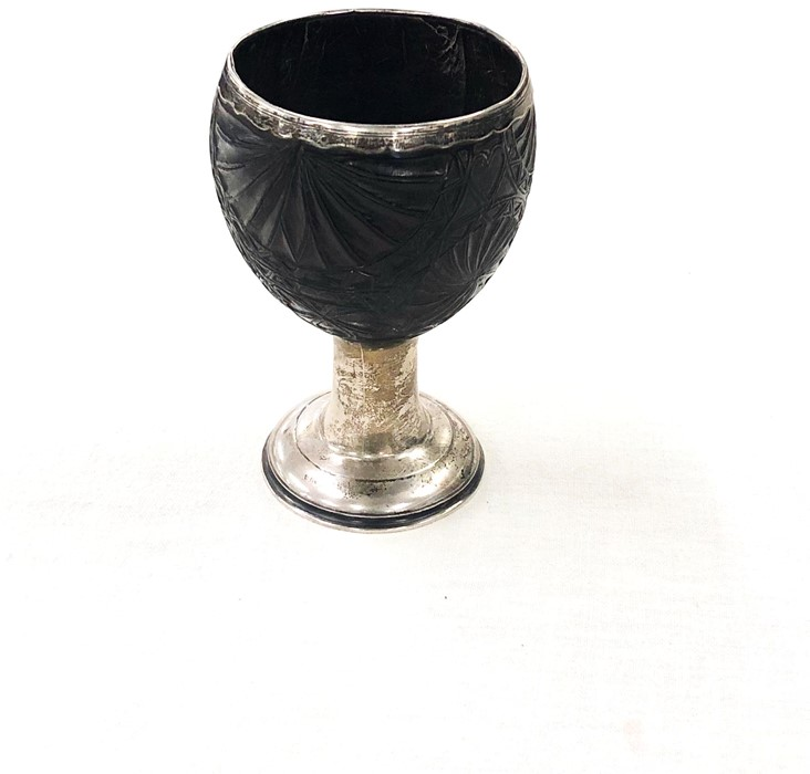 Lot 4 - Provincial Scottish silver and carved coconut cup posibly John Cornfute of Perth measures height 14c