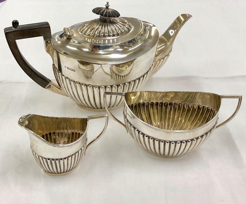 Lot 3 - Hallmarked silver tea service Sheffield silver hallmarks weight