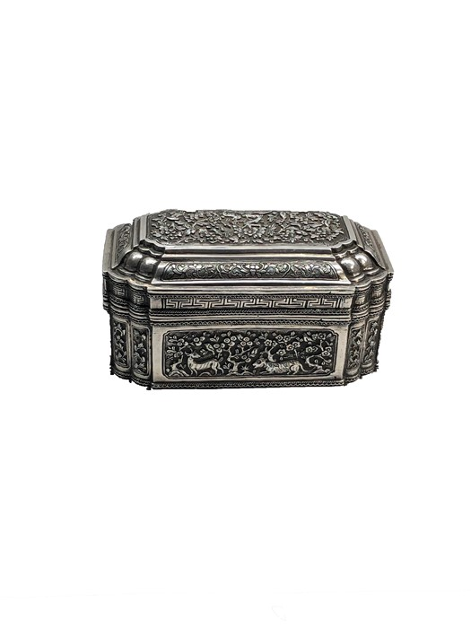 Lot 9 - arge antique asian silver casket box measures approx 19cm wide height 9cm weight 748g