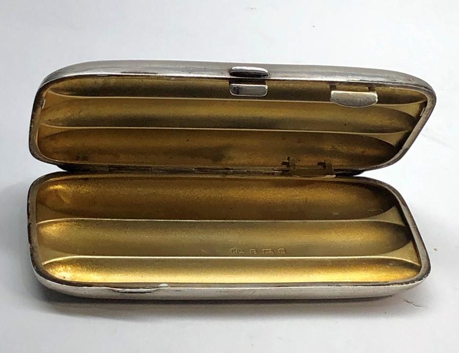 Lot 21 - Antique silver cigar case Birmingham silver hallmarks 3 compartments measures approx 13cm by 6cm wei