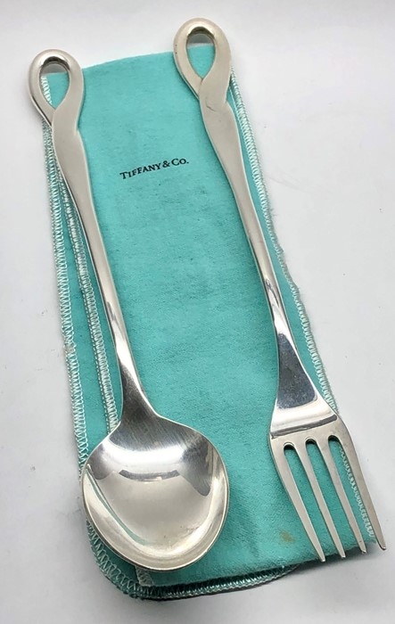 Lot 30 - arge pair of Tiffany & Co serving spoon and Fork hallmarked T&Co sterling Peretti Italy 1984 they m