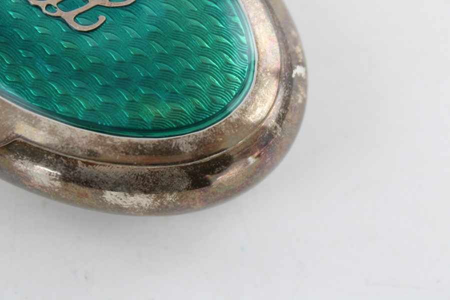 Lot 52 - Vintage stamped .925 sterling silver oval snuff box with enamel lid & silver Initials YDL dimensions