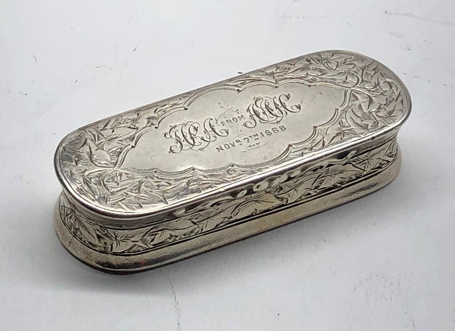 Lot 8 - Victorian silver snuff box engraved lid dated 1888 makers hallmark G.U George unite measures approx