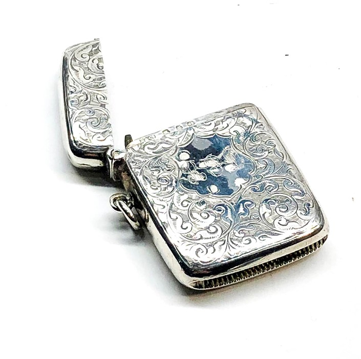 Lot 25 - Antique silver vesta / match striker Birmingham silver hallmarks