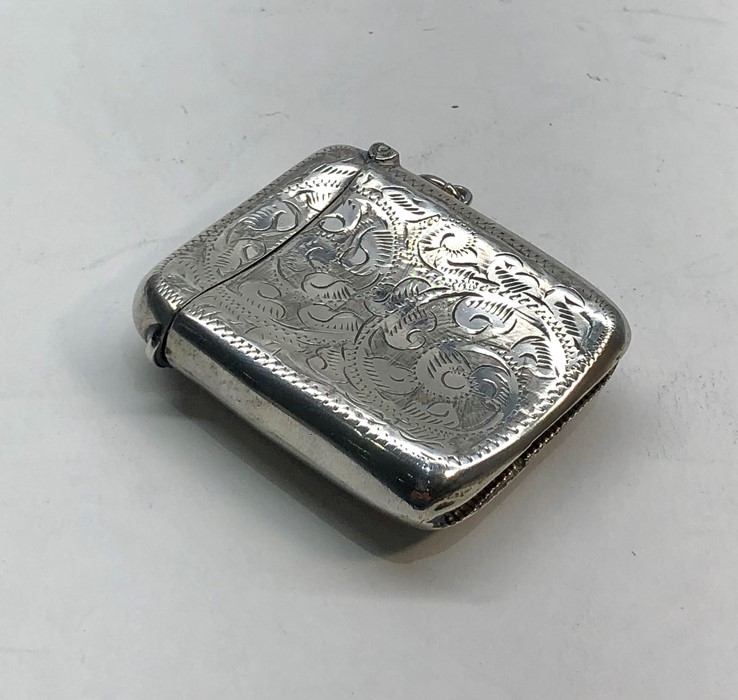 Lot 27 - Antique silver vesta / match striker Birmingham silver hallmarks