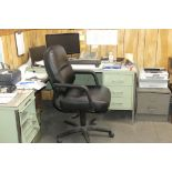 6-CHAIRS, 3-DESKS, FILE CABINET, SHELVING UNITS (DOWNSTAIRS OFFICE)