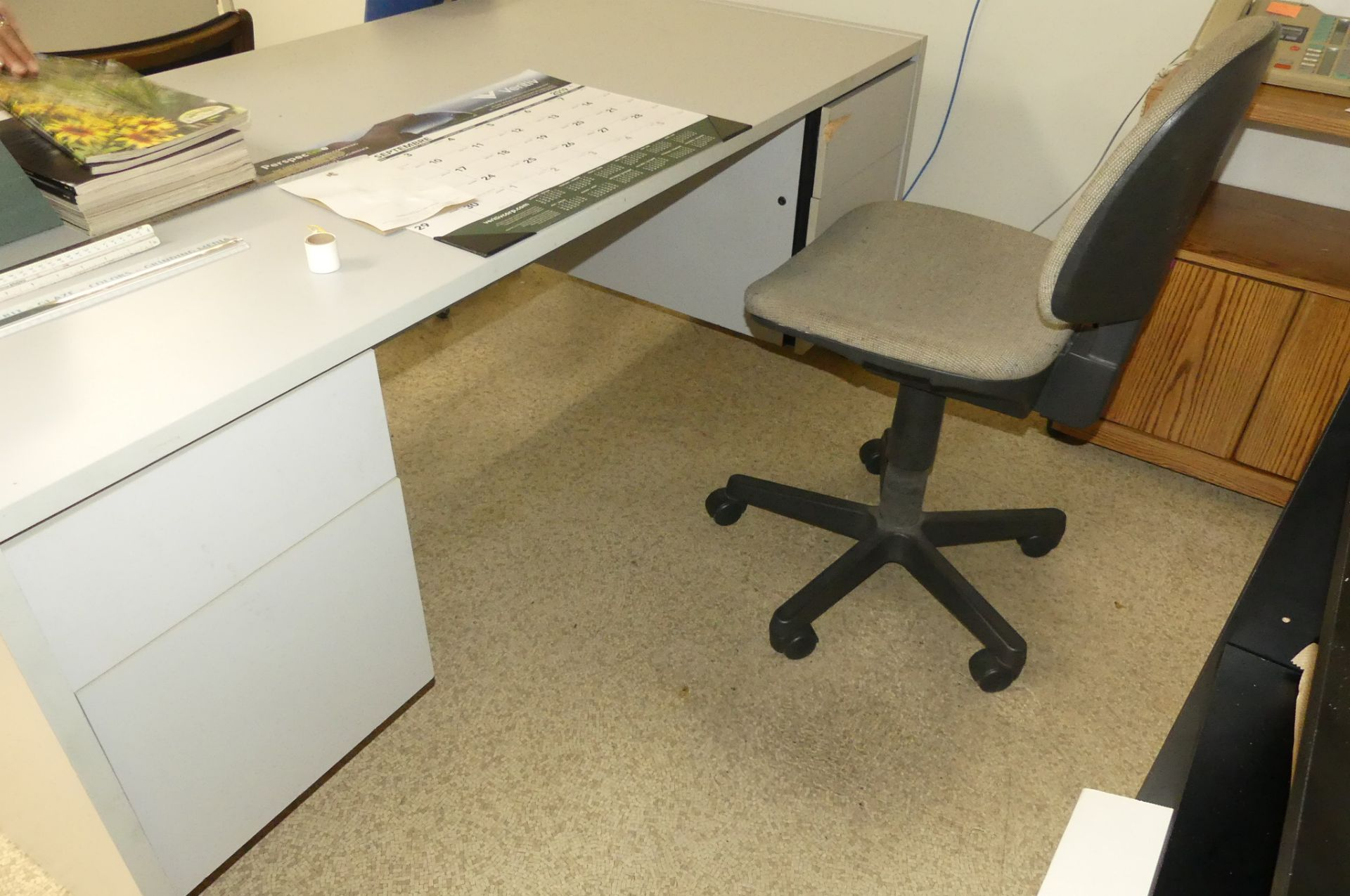 4-CHAIRS, TABLE, DESK, SHELVING UNIT - Image 2 of 2