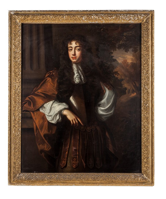 Lot 28 - Circle of John Riley Portrait of a young gentleman, three-quarter-length, wearing armour