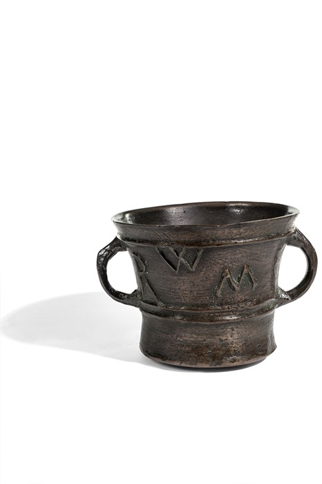 Lot 51 - A bronze two-handled mortar with initial triad RWM, English, 17th century