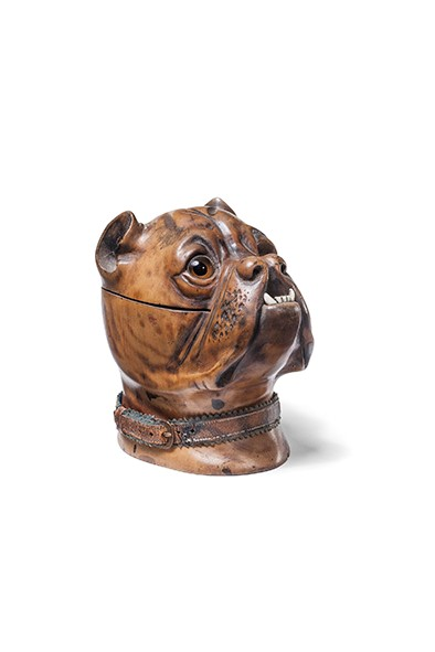 Lot 4 - A late Victorian novelty treen boxer dog inkwell