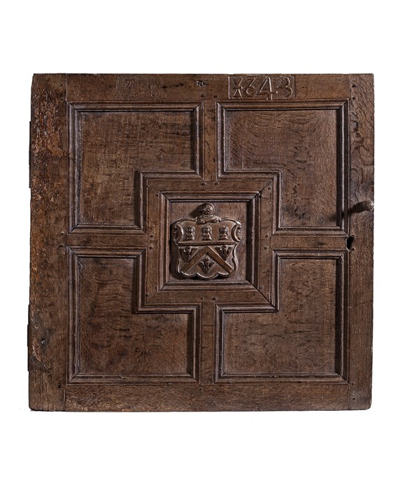 Lot 36 - A Charles I door for a built-in wall cupboard, initialled and dated AEB 1643