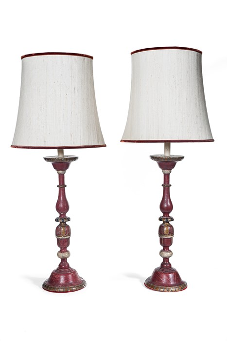 Lot 47 - A pair of polychrome painted and parcel gilt table lamps, 20th century