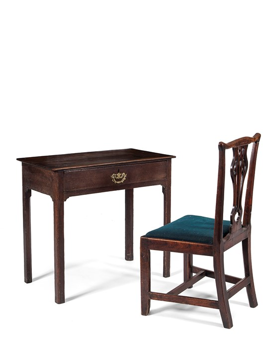 Lot 55 - A George III oak side table and a George III elm chair