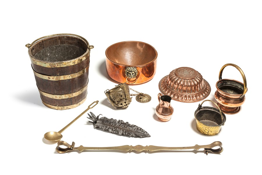 Lot 34 - Various copper items, mostly 19th century, English and Dutch