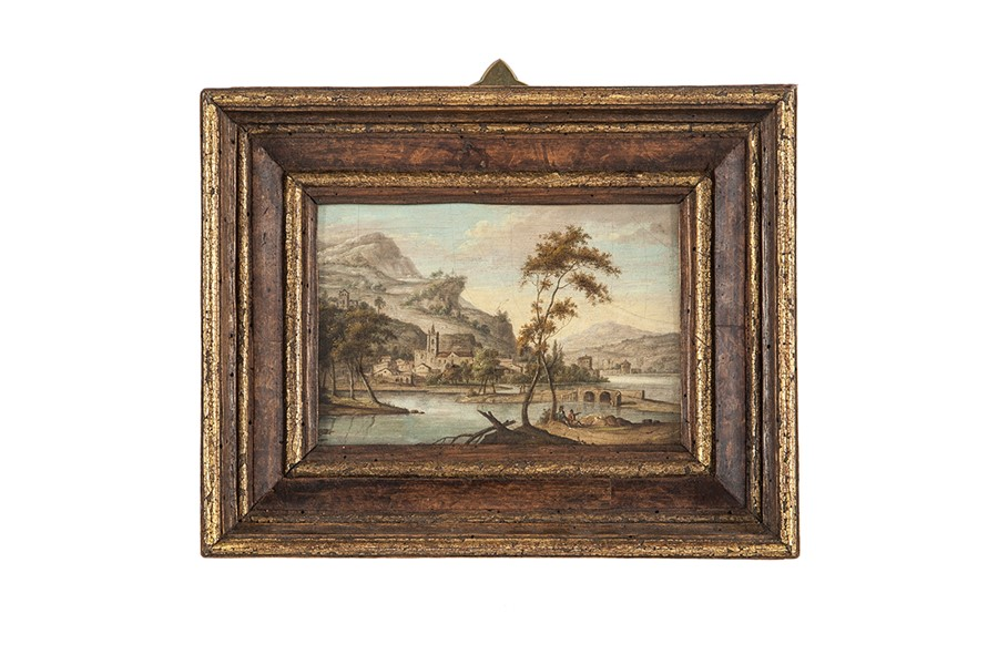 Lot 7 - Italian School, Lakeside village scene, two figures in the foreground