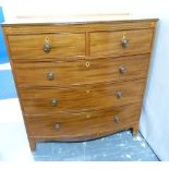 Lot 329 - 19th century mahogany bow front chest of two short & three long drawers, ebonised stringing & shaped