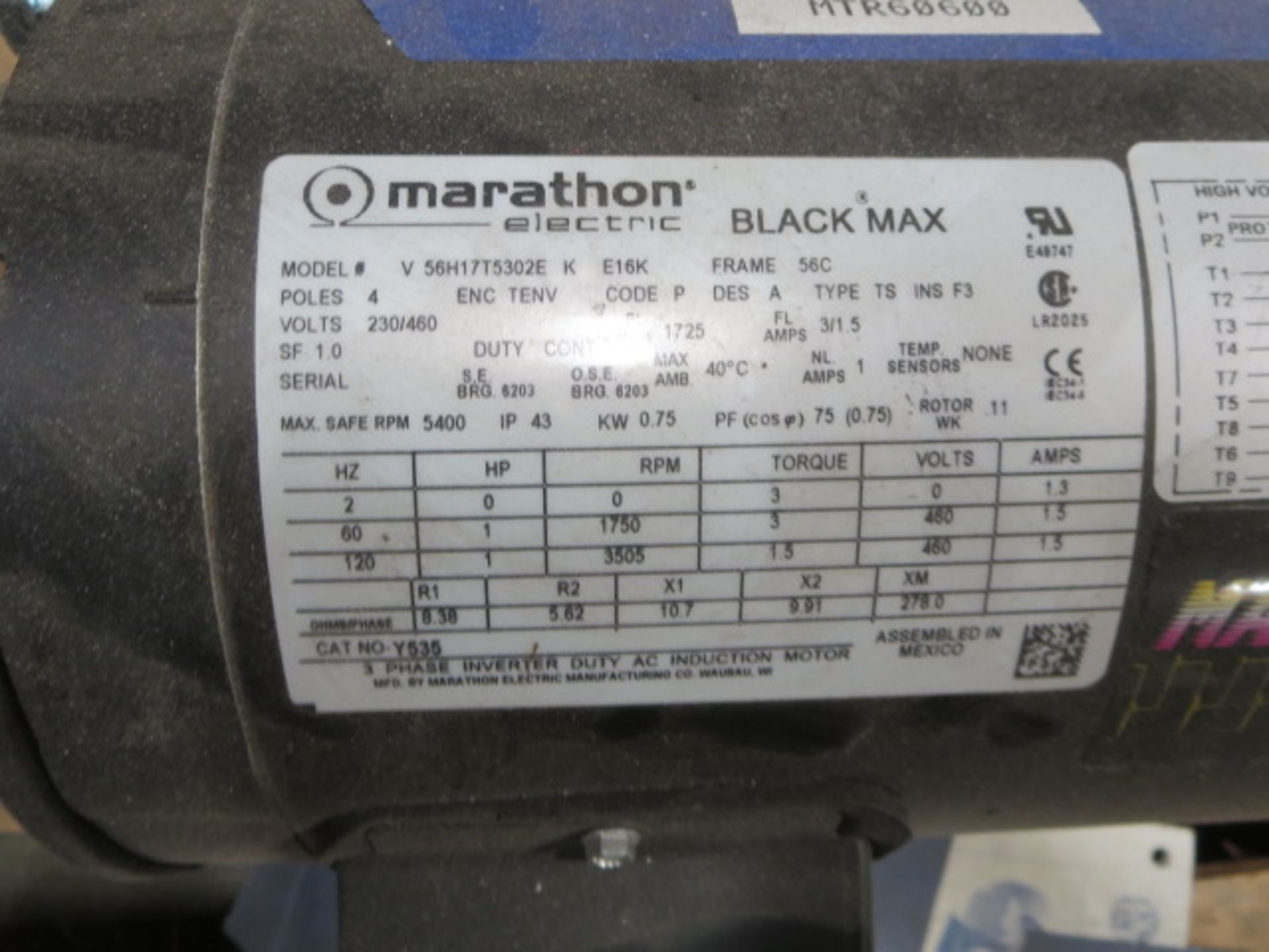 Lot 227 - Marathon Max Guard Inverter Duty Motor, 3 Phase, 120Hz