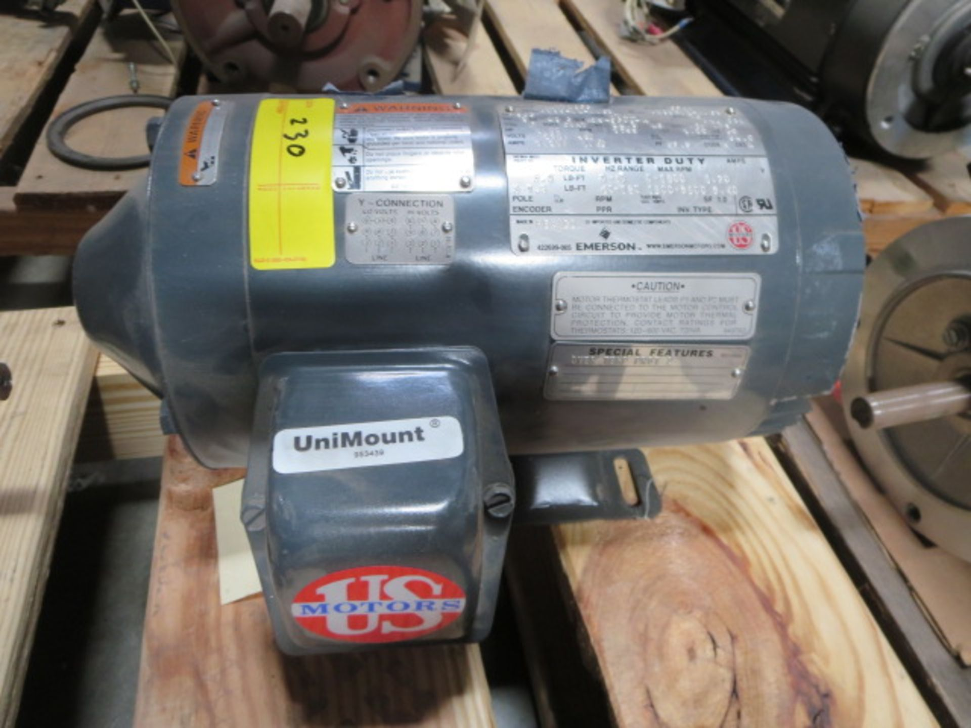 Lot 230 - US Motors Inverter Duty Motor, 3 Phase, 60Hz