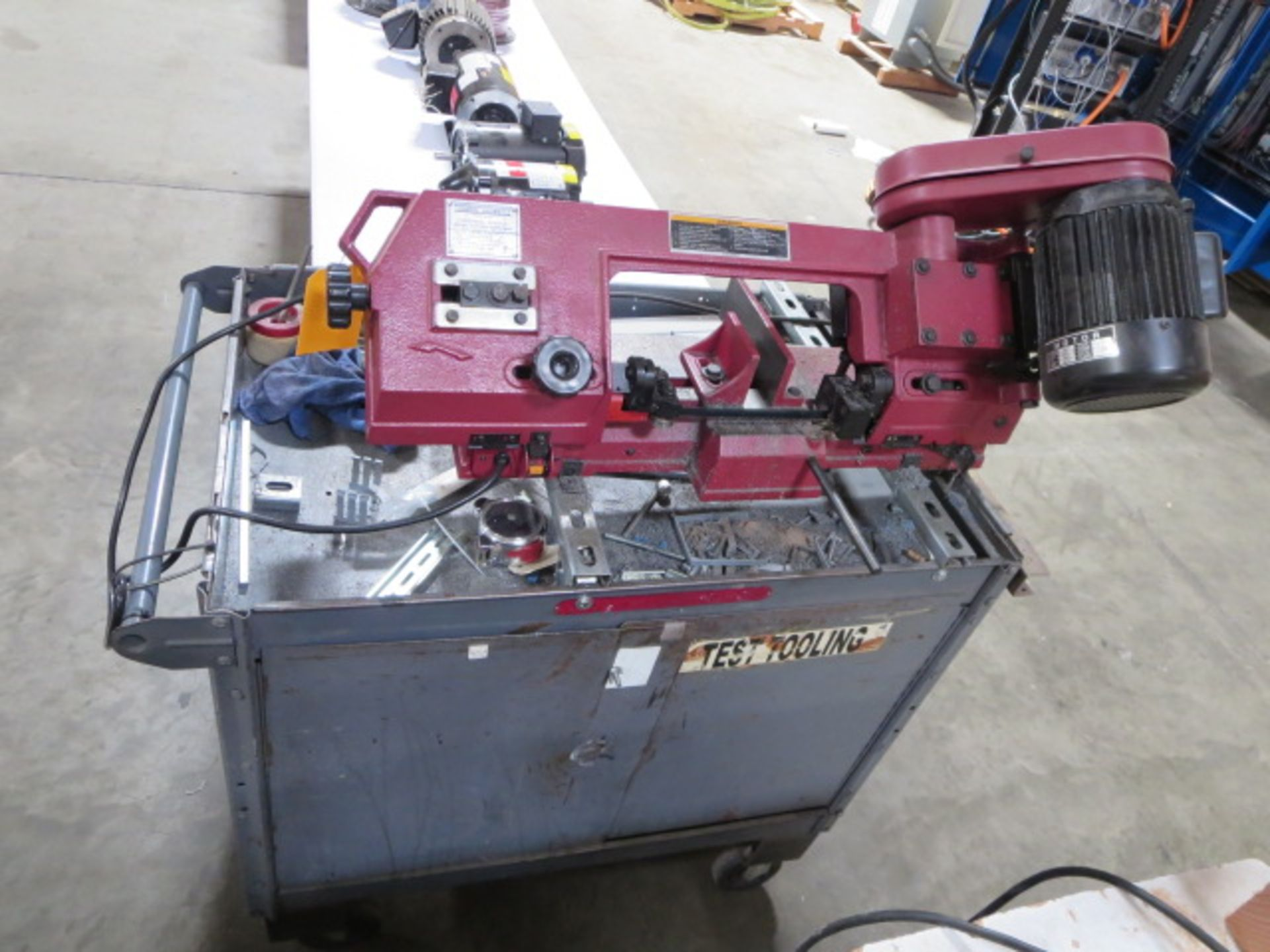 Lot 19 - Central Machinery Horizontal/Vertical Metal Cutting Band Saw, model 93762, Includes Rolling Cart