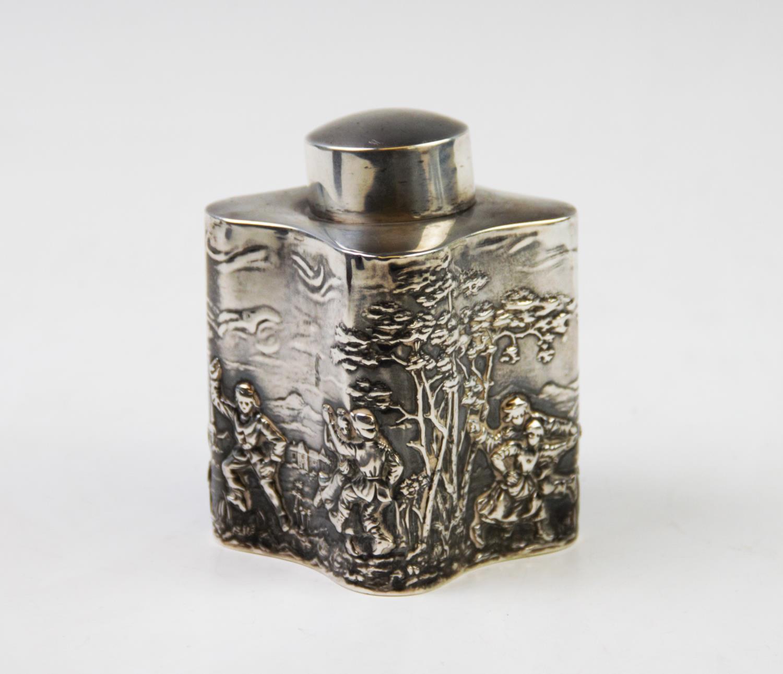 Lot 17 - An Edwardian silver tea caddy, probably T H Hazlewood & Co, Birmingham 1908, of quatrefoil form with