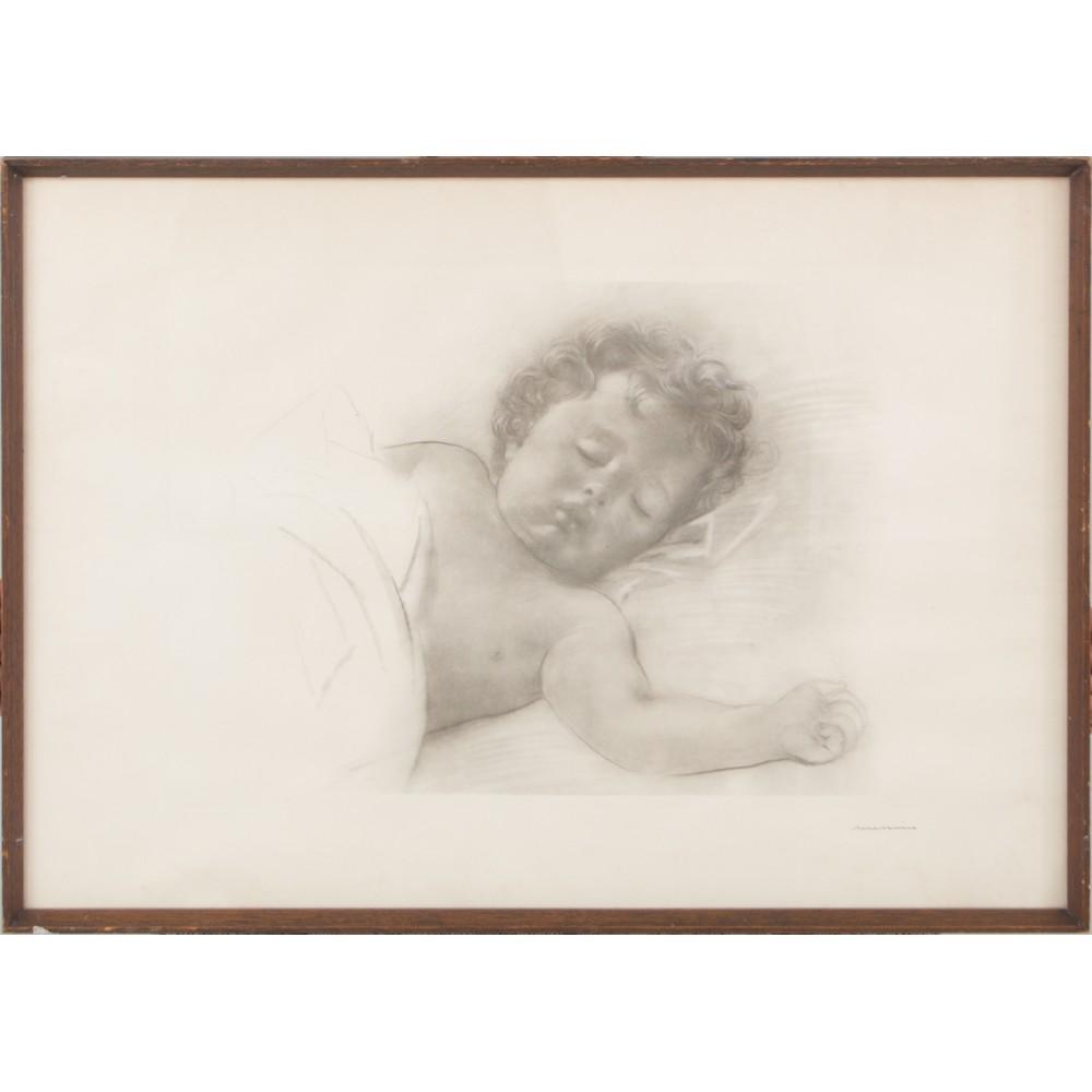 """Lot 1 - FRANCESCO MESSINA (Linguaglossa 1900 - Milano 1995) INCISIONE """"Bambino dormiente"""". Misure: cm 50 x"""