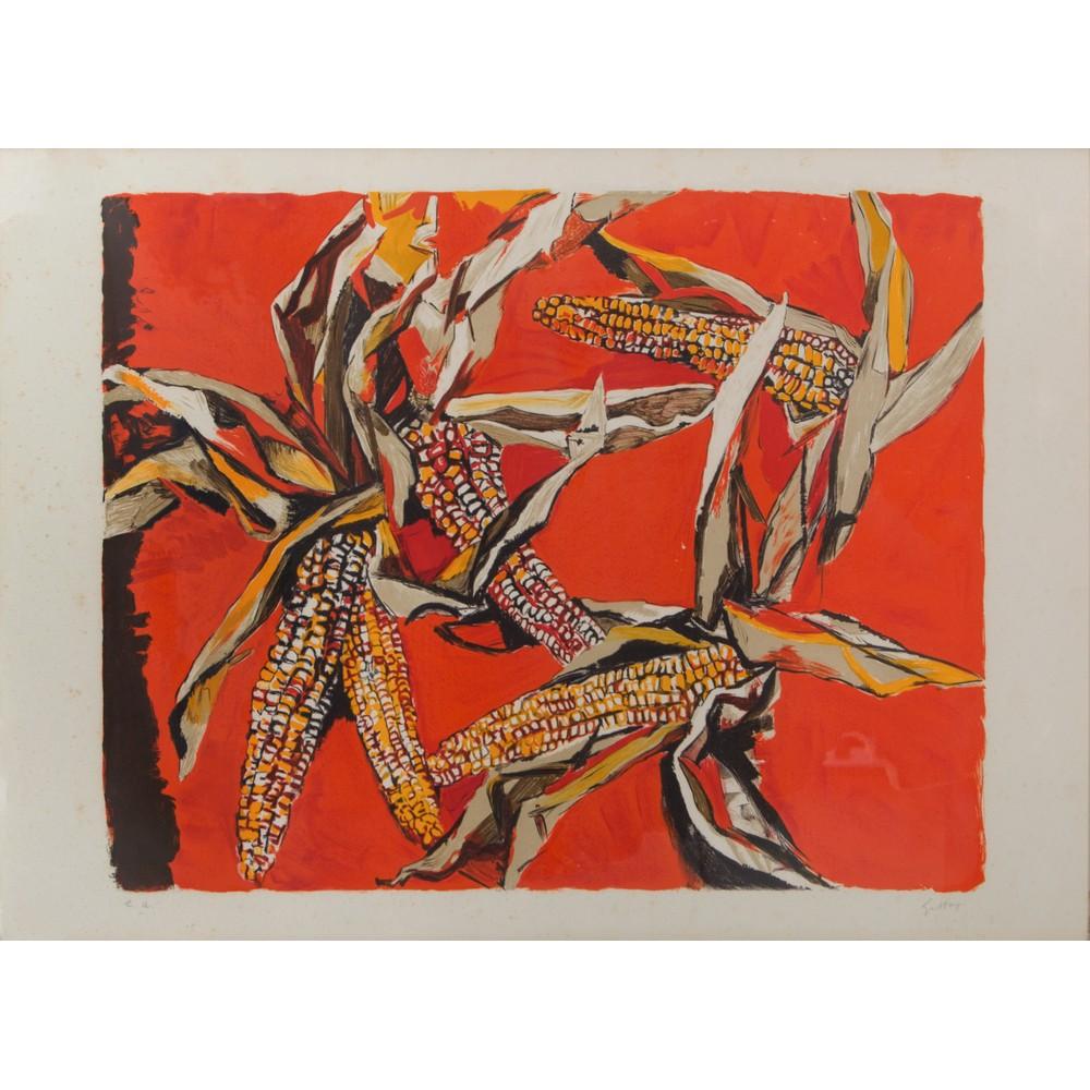 """Lot 27 - RENATO GUTTUSO (Bagheria (PA) 1911 - Roma 1987) LITOGRAFIA a colori """"Pannocchie"""" con timbro a"""