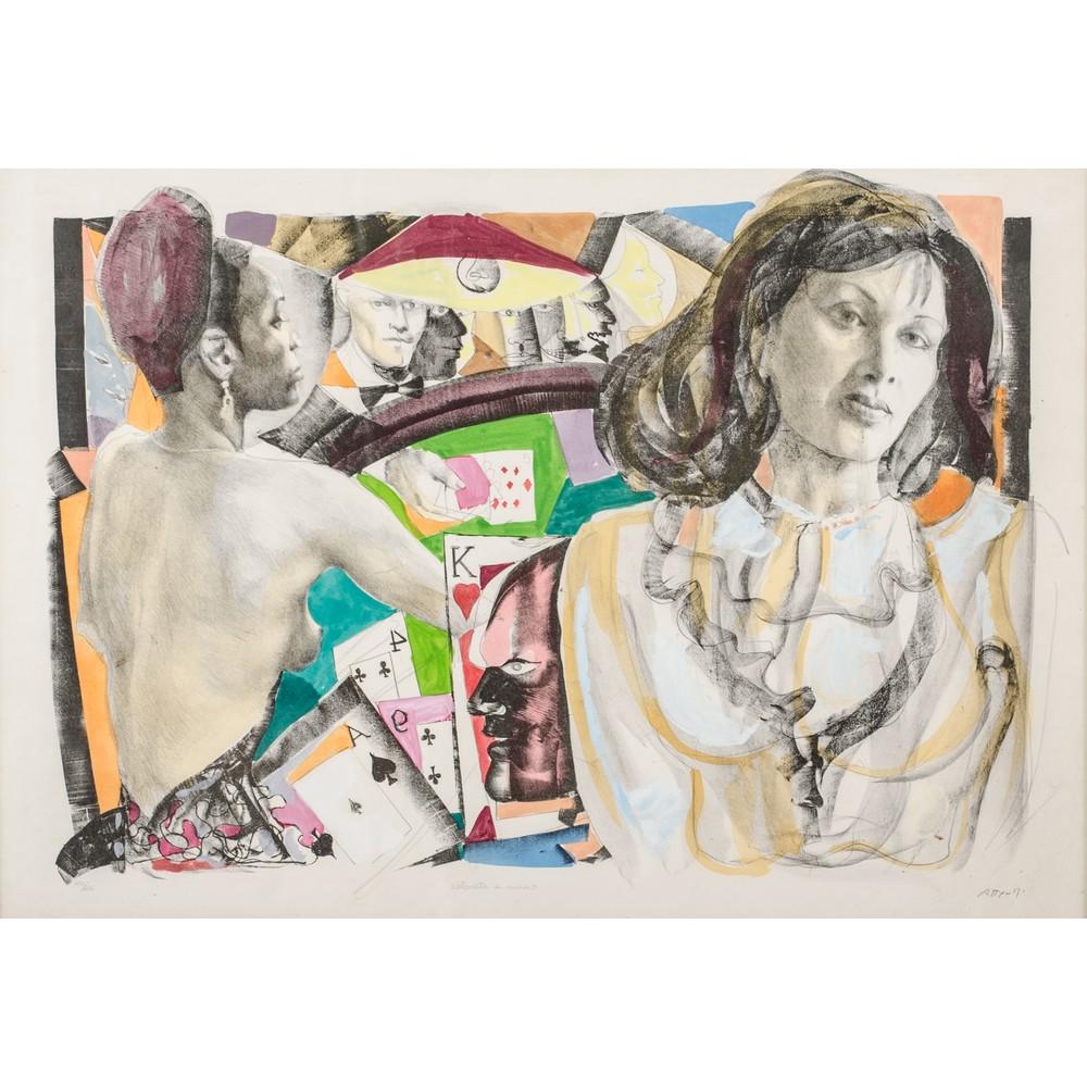 """Lot 39 - UGO ATTARDI (Sori 1923 - Roma 2006) LITOGRAFIA colorata a mano """"Composizioni con figura"""