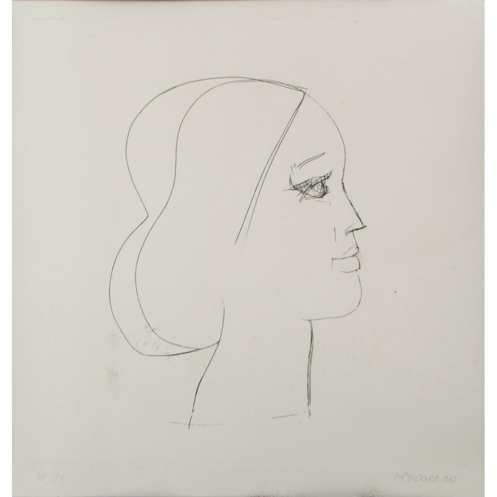 """Lot 15 - MARIO PECORAINO (Palermo 1930) INCISIONE """"Profilo femminile"""", esemplare 38/99. Misure: cm 40 x 40"""